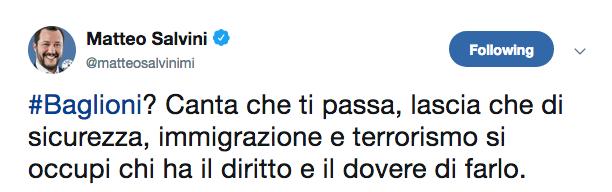 Salvini Tweet Baglioni